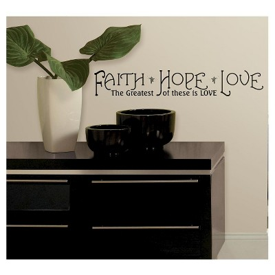 12 FAITH, HOPE & LOVE Peel and Stick Wall Decal Black - ROOMMATES