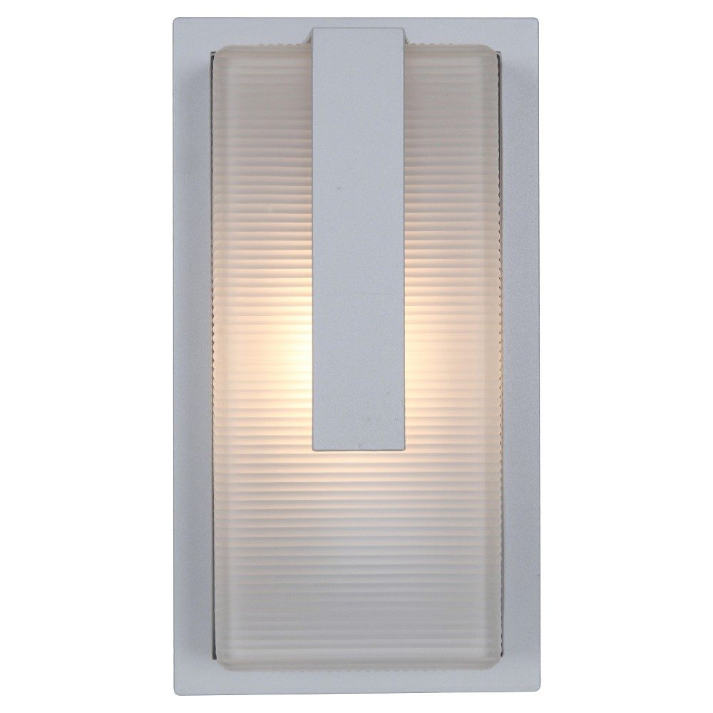 Neptune Marine Grade Outdoor Wall Light with Ribbed Frosted Glass Shade - Satin