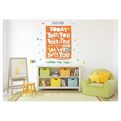 Dr. Seuss Street Art Today You Are You Inspirational Quote Giant Wall Decal - image 1 of 1