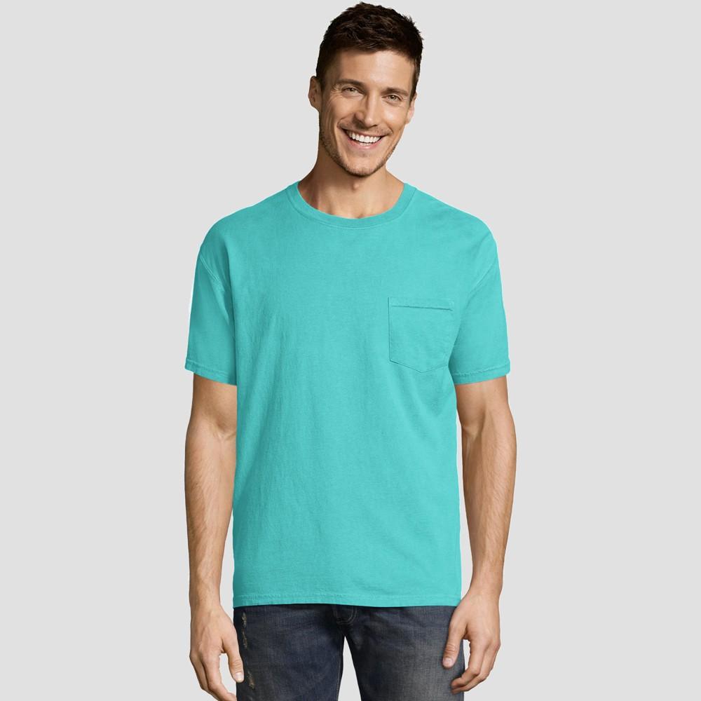 Hanes Men's Short Sleeve 1901 Garment Dyed Pocket T-Shirt - Mint (Green) L