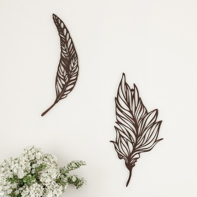 Wall Decor-Set of Two Metal Feather Hanging Wall Art Laser Cut Contemporary Nature Sculpture for Living Room, Bedroom, Kitchen by Hastings Home