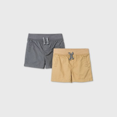 Baby Boys' 2pk Woven Chino Shorts - Cat & Jack™ Gray 3-6M