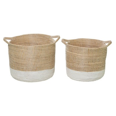 "Olivia & May 18""x20"" Set of 2 Large Round Woven Seagrass Baskets White/Natural"