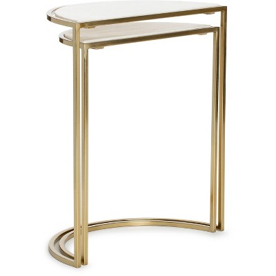 Set of 2 Kingston Nesting Side Tables White/Gold - Adore Decor