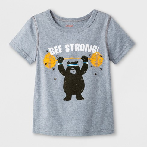 """Toddler Boys' Adaptive Short Sleeve """"Bee Strong"""" Graphic T-Shirt - Cat & Jack™ Gray - image 1 of 1"""