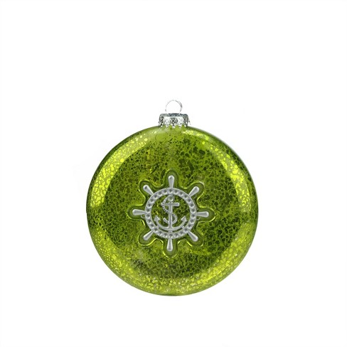 "Northlight 4"" Nautical Mercury Glass Style Disc with Ship Wheel Christmas Ornament - Kiwi Green/Silver - image 1 of 1"