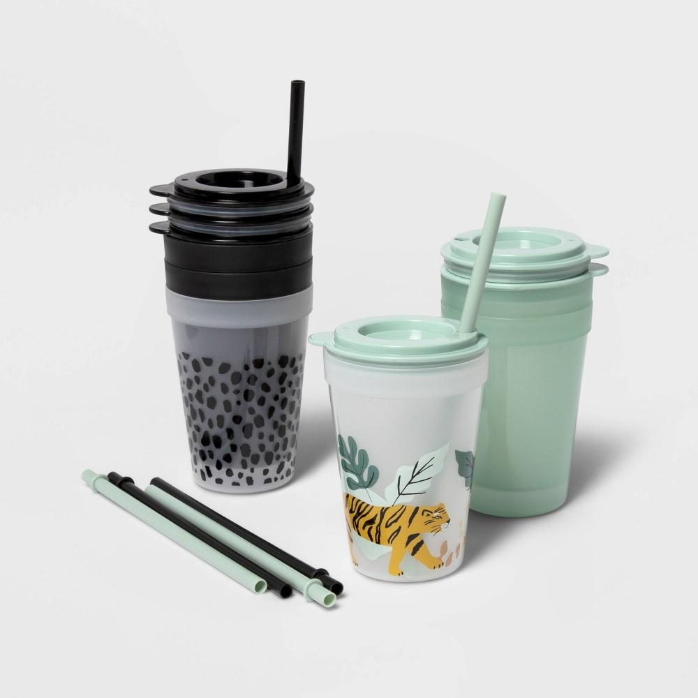 18pc Plastic Jungle Kids 39 Drinkware Set Green Black Pillowfort 8482