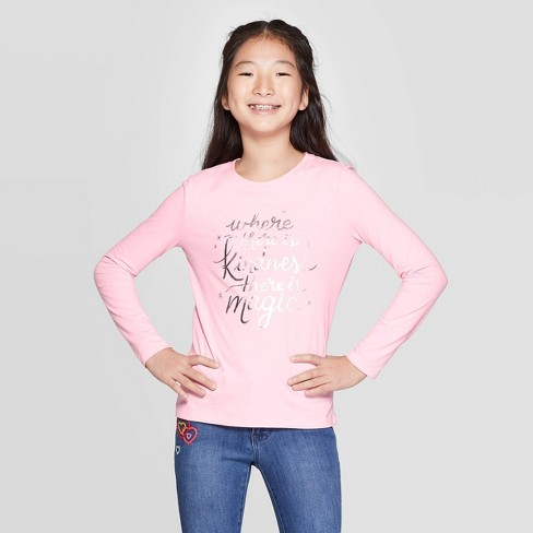 Girls' Long Sleeve Where There is Kindness Graphic T-Shirt - Cat & Jack™ Light Pink - image 1 of 3
