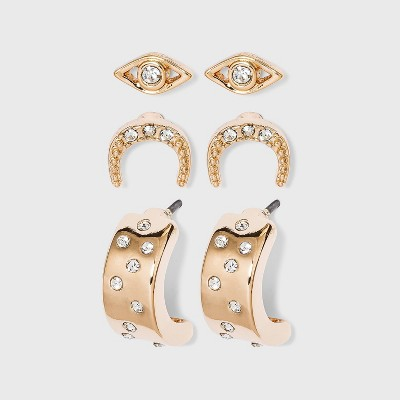 Evil Eye Stud and Cubic Zirconia Studded Hoop Earring Set 3pc - A New Day™ Gold