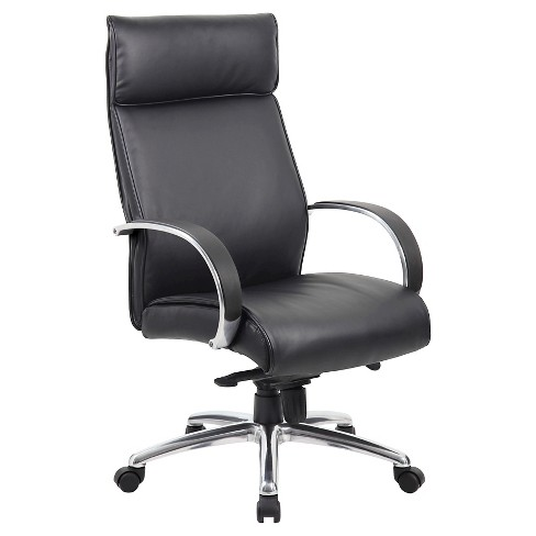 High Back Executive Chair Aluminum Finish/Black Upholstery/Knee Tilt Black - Boss Office Products - image 1 of 1
