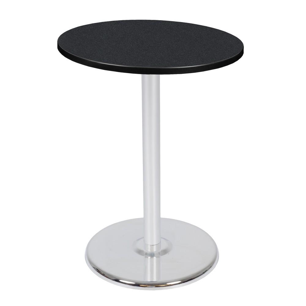 "Image of ""30"""" Via Cafe High Round Platter Base Table Carbon/Chrome - Regency, Silver"""
