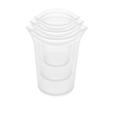 Zip Top Reusable 100% Platinum Silicone Container - 3 Cup Set (S/M/L)