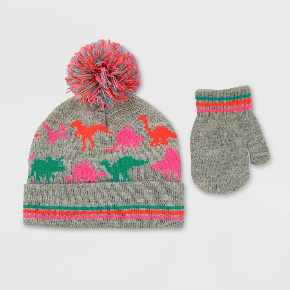 Image of Baby Boys' Hat And Glove Set - Cat & Jack Calm Gray 12-24M, Girl's