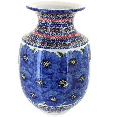 Blue Rose Polish Pottery Blue Art Large Vase