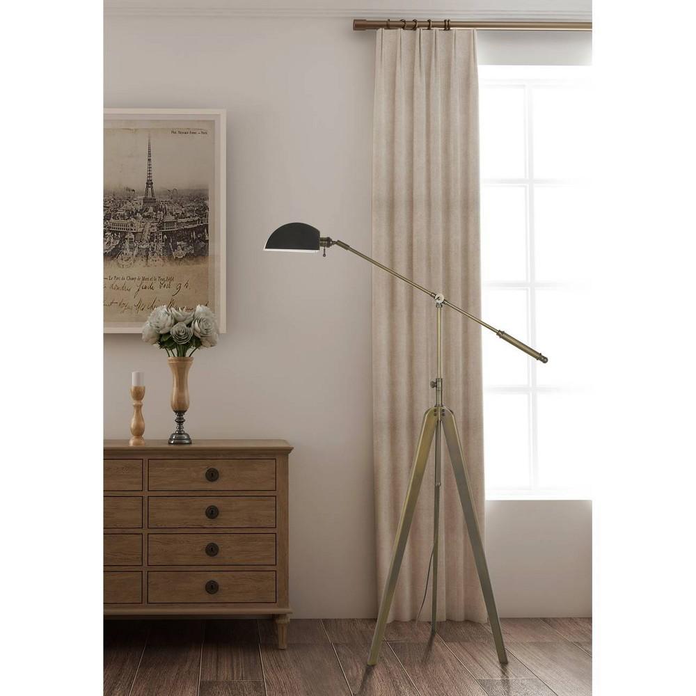 60W Cuero Metal Tripod Balanced Arm Floor Lamp Antique Gold Brass (Lamp Only) - Cal Lighting
