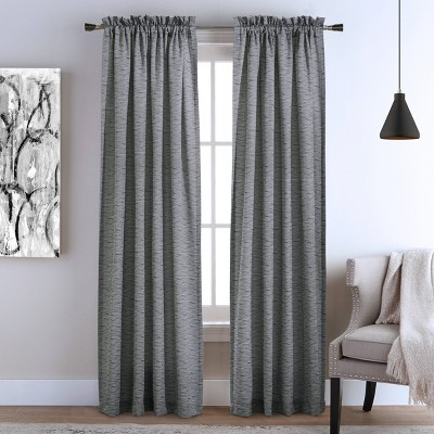"Set of 2 (63""x54"")Bellevue Woven Jacquard Light Filtering Window Curtain Panels Black - Habitat"