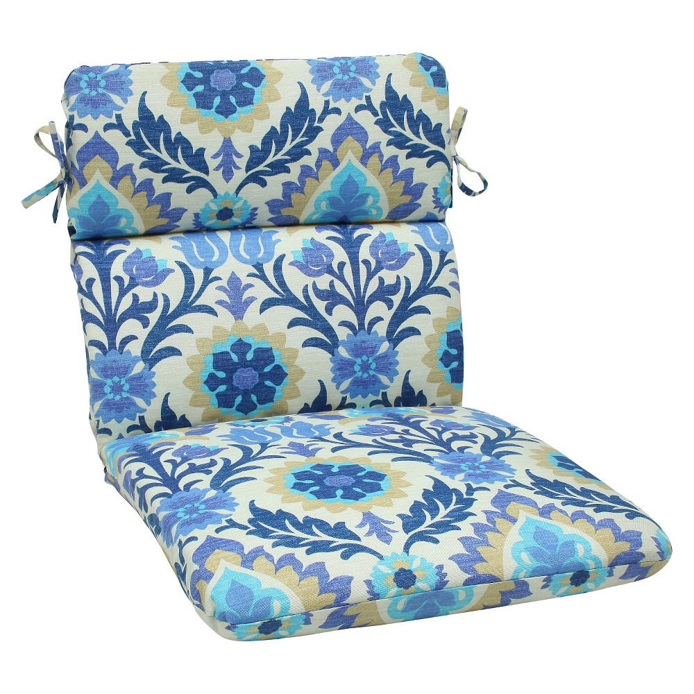 Outdoor Seat Pillow Perfect Rounded Chair Cushion - Blue/White, Blue/Beige
