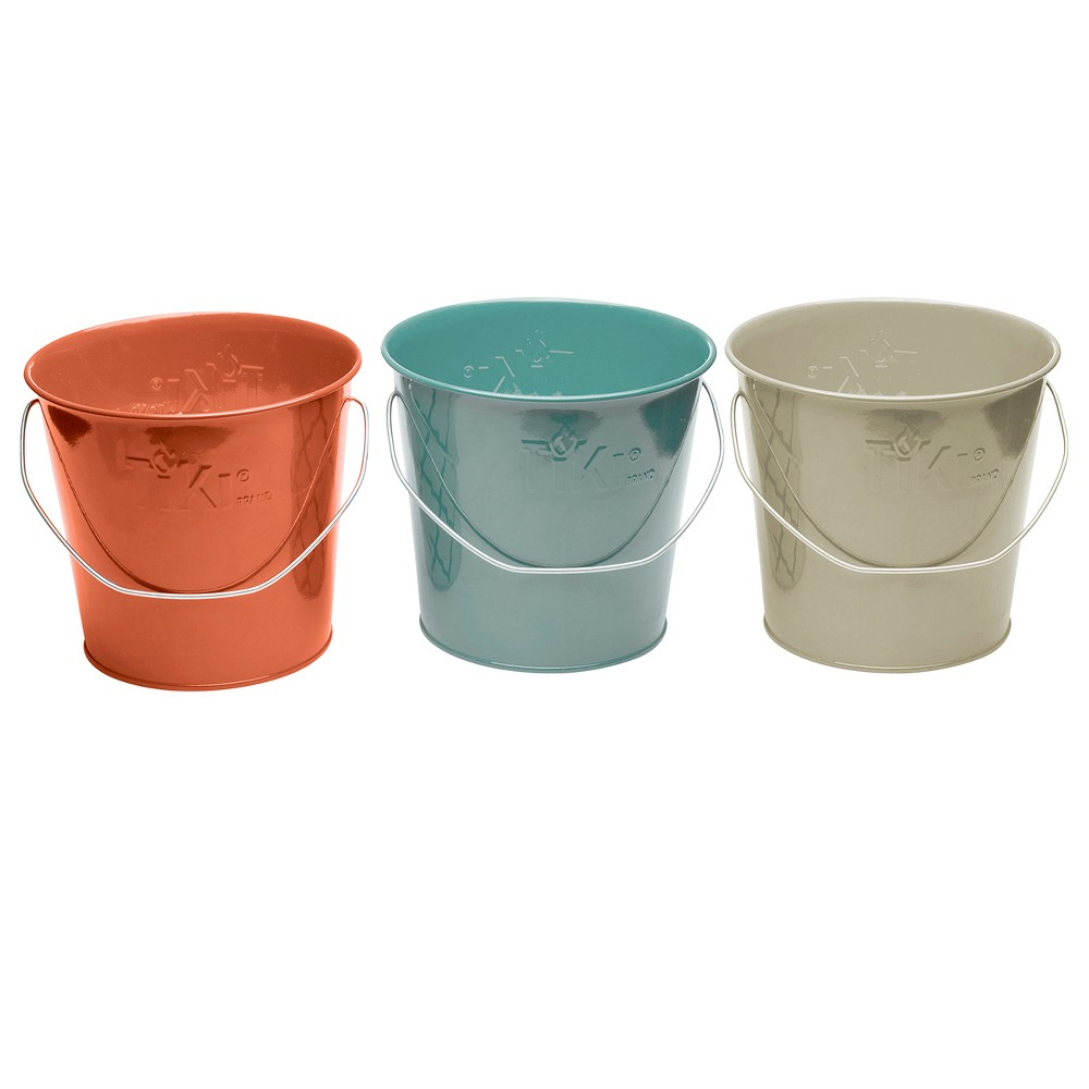 Image of 17oz. 3pk Wax Bucket Candle Seaside Escape Ivory/Coral/Blue - TIKI