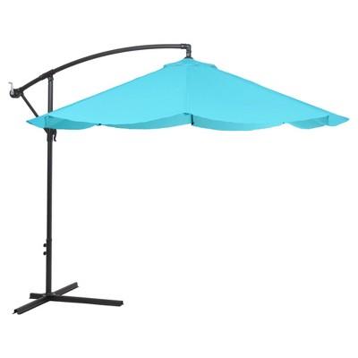 Offset 10' Aluminum Hanging Patio Umbrella - Blue - Pure Garden