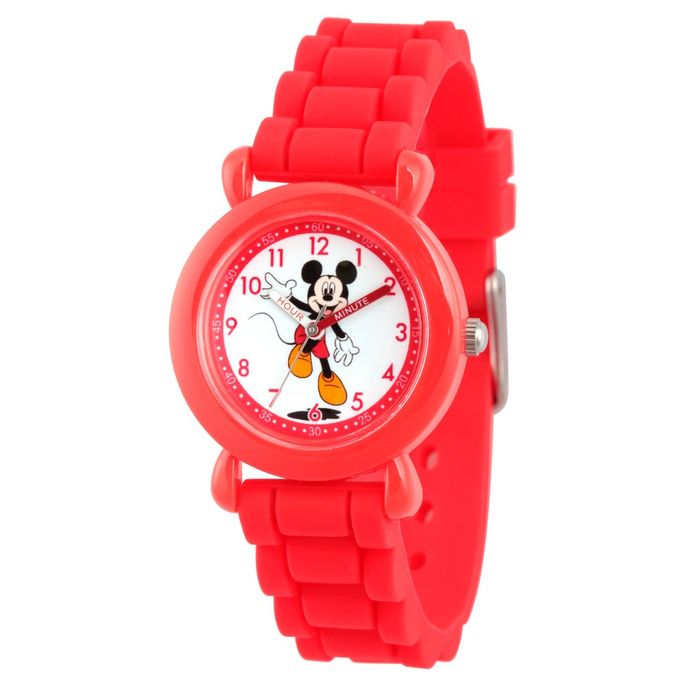 Disney Mickey Mouse Boys' Red Plastic Time Teacher Watch, Red Silicone Strap, WDS000142