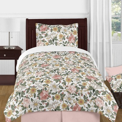 4pc Twin Vintage Floral Bedding Set Green/Pink - Sweet Jojo Designs