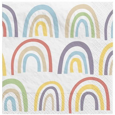 30ct Rainbow Disposable Beverage Napkins - Spritz™