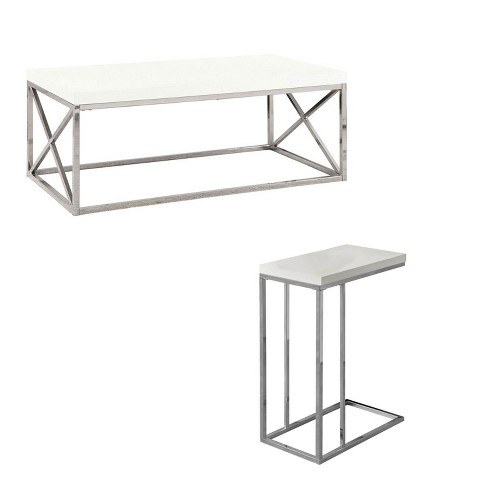 Monarch Glossy White Chrome Contemporary Living Room Coffee Table & End  Table