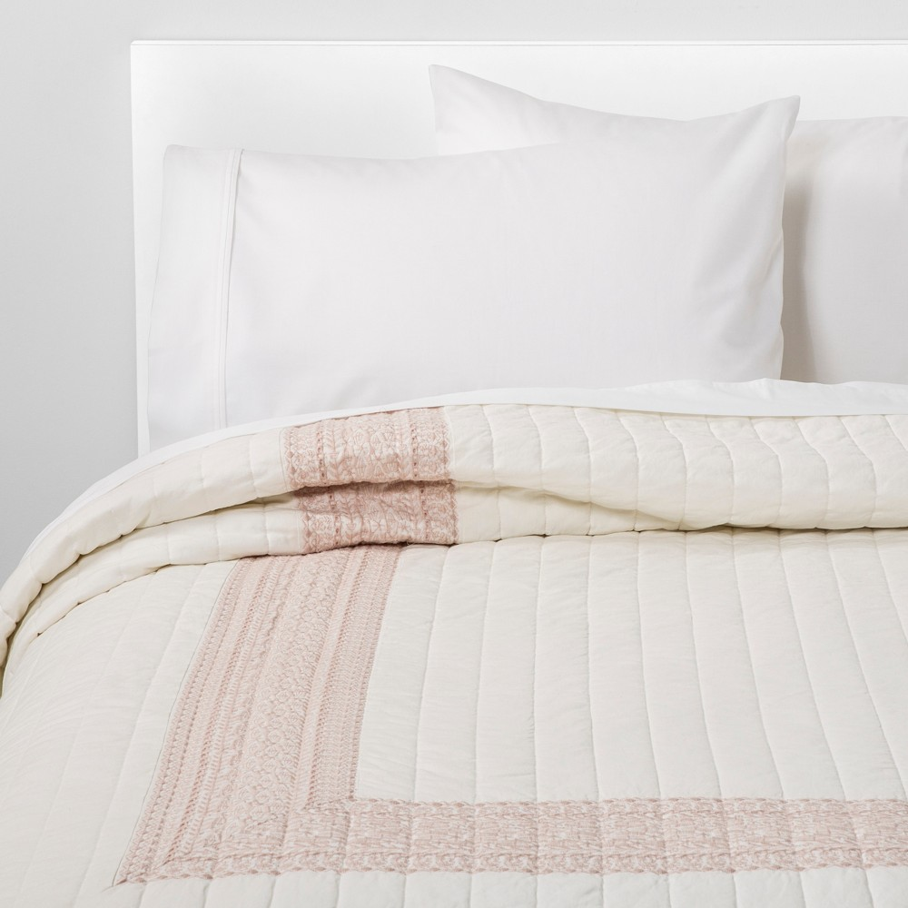 Full/Queen Hotel Embroidered Linen Blend Quilt Cream - Threshold, White
