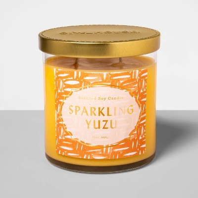 15.1oz Glass Jar 2-Wick Candle Sparkling Yuzu - Opalhouse™