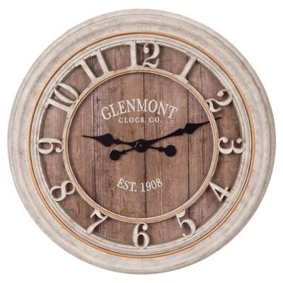 16  Distressed Wood Plank Glenmont Wall Clock Gray - Patton Wall Decor
