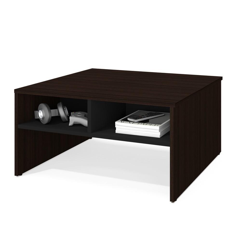 """Image of """"29.5"""""""" Small Space Storage Coffee Table Dark Brown/Black - Bestar"""""""