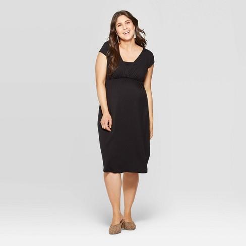 46e7cd8dc42c1 Maternity Short Sleeve V-Neck Wrap Front Nursing Dress - Isabel Maternity  by Ingrid & Isabel™ Black