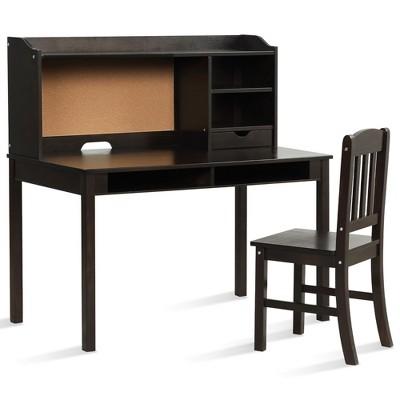 Costway Kids Desk & Chair Set Study Writing Desk w/ Hutch & Bookshelves