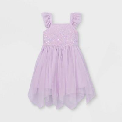 Girls' Flutter Sequin Short Sleeve Tulle Dress - Cat & Jack™ Light Purple