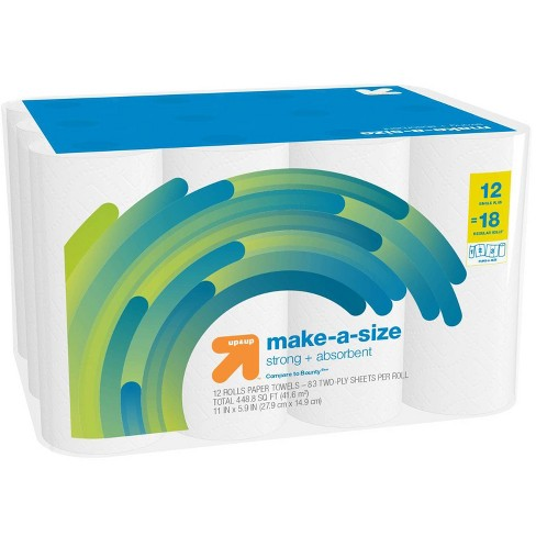 Make-A-Size White Paper Towels - 12 Single Plus = 18 - up & up™ - image 1 of 3