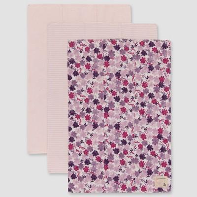 Burt's Bees Baby® Baby Girls' 3pk Ditsy Museum Garden Burp Cloths - Light Pink