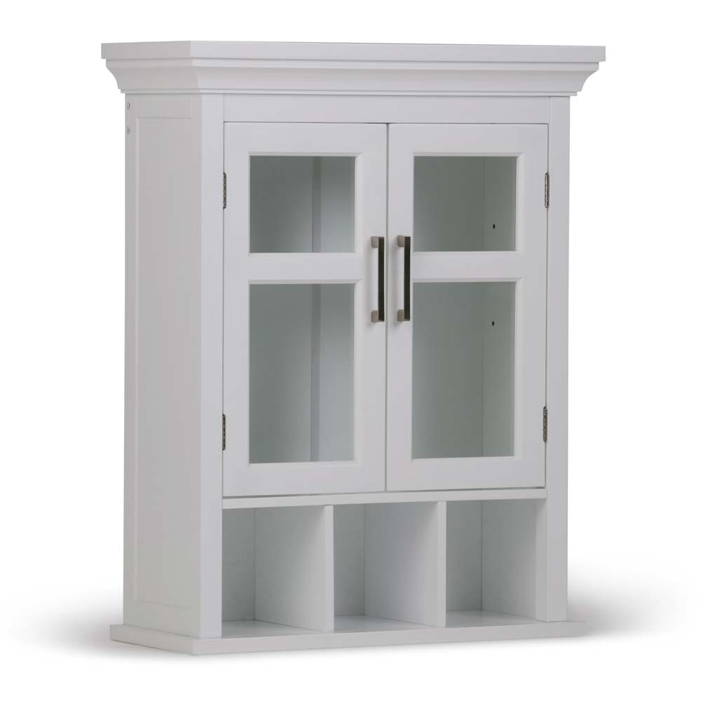 Avington Two Door Wall Cabinet with Cubbies ( 15'' W x 10'' D x 27'' H ) White - Simpli Home