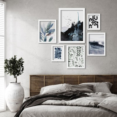 Americanflat Blue Monochrome Watercolor Botanical by 6 Piece Framed Gallery Wall Art Set
