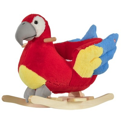Qaba Kids Ride-On Rocking Horse Toy Parrot Style Rocker with Fun Music & Soft Plush Fabric for Children 18-36 Months