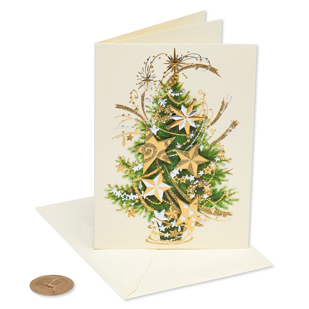 Star Tree Greeting Card - Papyrus, Multi-Colored