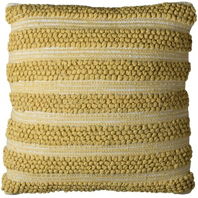 """20""""x20"""" Striped Throw Pillow Gold/White - Rizzy Home"""
