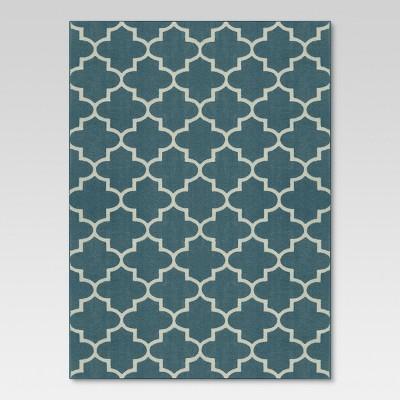 "2'6""x4' Fretwork Design Accent Rug Blue - Threshold™"