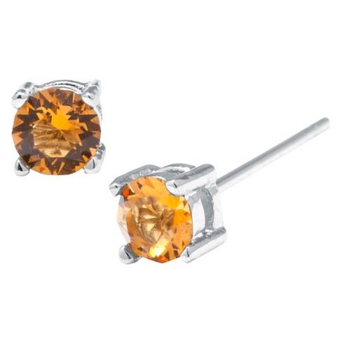 Silver Plated Brass Yellow Stud Earrings with Crystals from Swarovski (4mm) - image 1 of 1