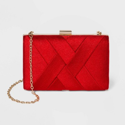 Estee & Lilly Textured Satin Basketweave Clutch