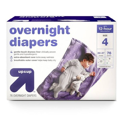 Overnight Diapers - Size 4 - 76ct - Up&Up™