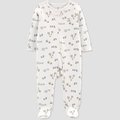 Baby Safari Interlock Footed Pajama - Just One You® made by carter's Off-White/Gray 9M