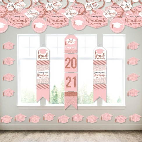 Big Dot of Happiness Rose Gold Grad - Wall and Door Hanging Decor - 2021 Graduation Party Room Decoration Kit - image 1 of 4