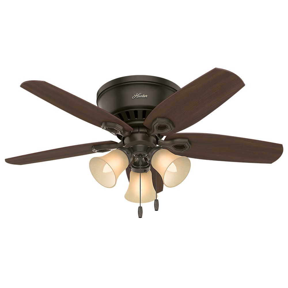 "Image of ""42"""" Builder Low Profile LED Lighted Ceiling Fan Bronze - Hunter Fan"""
