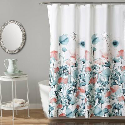 Zuri Flora Shower Curtain Blue - Lush Décor