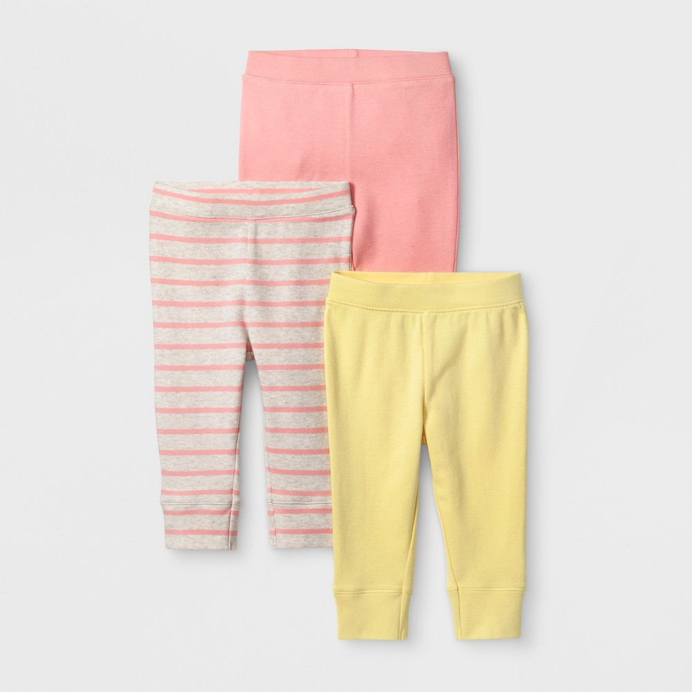 Baby Girls' 3pk Meadow Pants - Cloud Island Coral 0-3M, Pink